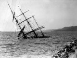 Half-Sunken Ship after a Storm, in Trieste, Italy Photographic Print by Carlo Wulz