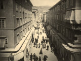 View of Via S. Antonio in Trieste, Busy with Pedestrians Photographic Print by Giuseppe Wulz