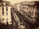 Aerial View of the Corpus Domini Procession in the Streets of Trieste Photographic Print by Giuseppe Wulz