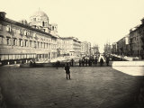 View of Trieste with a Canal, the Stella Polare Cafe and the Serbian Orthodox Church Photographic Print by Giuseppe Wulz