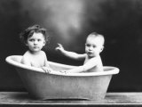 Portrait of Wanda and Marion Wulz Taking a Bath Photographic Print by Carlo Wulz