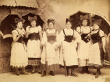 Portrait of a Group of Women, with Bows in their Hair and Parasols Photographic Print by Giuseppe Wulz