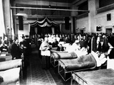Decorated Salon at a Hospital with War Wounded During a Sacerdotal Visit Photographic Print by Carlo Wulz