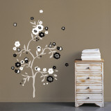 Black &amp; White Flowers Wall Decal