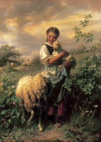 The Young Shepherdess Prints by Johann Baptist Hofner