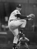 Cleveland Indians Herb Score Winding Up to Throw the Ball Fototryk i høj kvalitet af George Silk