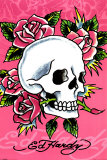 Ed Hardy - Pink Skull &amp; Roses Posters by Ed Hardy