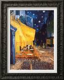Terraço do Café na Place du Forum, Arles, à Noite, c.1888 Impressão em tela emoldurada por Vincent van Gogh