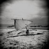 Dhow on Beach in Stormy Weather, Nungwi, Zanzibar, Tanzania, East Africa Photographic Print by Lee Frost