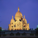 Sacre Coeur Illuminated at Dusk, Montmartre, Paris, France, Europe Photographic Print by Roy Rainford