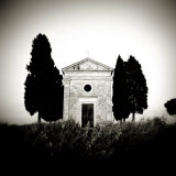 Old Church of Vitaleta Flanked by Trees in Silhouette, San Quirico D'Orcia, Tuscany, Italy Photographic Print by Lee Frost