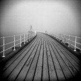Timber Boardwalk of Whitby Pier on Misty Winter's Day, Whitby, North Yorkshire, England, UK Photographic Print by Lee Frost