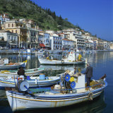 Fishing Boats at Port Town of Neapoli, Peloponnese, Greece, Europe Photographic Print by Tony Gervis