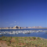Boats for Recreation Moored on Lake Powell, at Page in Arizona, USA Photographic Print by Tony Gervis
