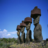 Line of Moai Statues, Ahu Nau Nau at Anakenu on Easter Island, Chile Photographic Print by Geoff Renner