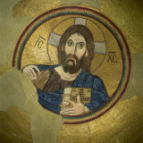 Mosaic of the Almighty, Pantocrator, in the Monastery of Daphni, Greece, Europe Photographic Print by Tony Gervis