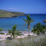 Beach and Coastline at Playa Anakena, on the North Coast of Easter Island, Chile Photographic Print by Geoff Renner
