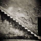 Staircase on the Outside of an Old Stone Wall, Chefchaouen, Morocco Photographic Print by Lee Frost