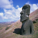 Moai or Statue on the Outer Slopes of Volcan Rano Raraku on Easter Island, Chile Photographic Print by Geoff Renner