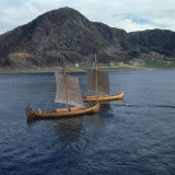 Replica Viking Ships, Oseberg and Gaia, Near Ulstenvik, Norway, Scandinavia, Europe Photographic Print by David Lomax