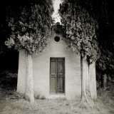 Small Church Flanked by Cypress Trees, Lucignano D'Asso, Tuscany, Italy Photographic Print by Lee Frost