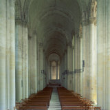 Interior of 12th Century Romanesque Church, Cunault in Anjou, Pays De La Loire, France Photographic Print by Tony Gervis