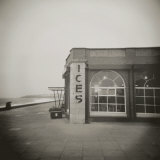 Ices Sign on Side of Old Rendezvous Cafe on Dull Winter's Day, Whitley Bay, Tyne and Wear, England Photographic Print by Lee Frost