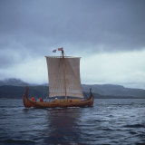 Replica Viking Ships, Oseberg, West Norway, Norway, Scandinavia, Europe Photographic Print by David Lomax