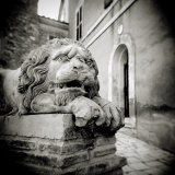 Stone Lion Sculpture Outside Building in Village of Lucignano D'Asso, Tuscany, Italy Photographic Print by Lee Frost
