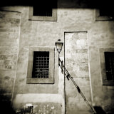 Wall of Old Building Showing Street Lamp, Window and Shadows, Pisa, Tuscany, Italy Photographic Print by Lee Frost