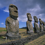 Moai Statues, Ahu Akivi, Easter Island, UNESCO World Heritage Site, Chile, Pacific Photographic Print by Geoff Renner
