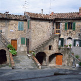 Old Houses on a Street in the Village of Monteciano in Tuscany, Italy, Europe Photographic Print by Tony Gervis
