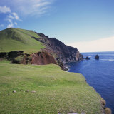 Grass Topped Cliffs Along the North West Coast on Tristan Da Cunha, Mid Atlantic Photographic Print by Geoff Renner