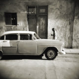 Man Walking Past Old American Car, Havana, Cuba, West Indies, Central America Photographic Print by Lee Frost