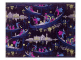Venise, Fete De Nuit Furnishing Fabric, Woven Silk, France, c.1921 Giclee Print by Georges Barbier