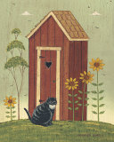 Outhouse with Cat Poster by Warren Kimble