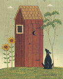 Outhouse with Dog Print by Warren Kimble