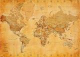 Mapa světa, starobylá (text vangličtině) Plakát