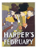 Harper's February, Poster Illustration Usa, 1897 Giclee Print by Edward Penfield