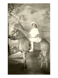 Girl Riding Stuffed Appaloosa Posters