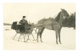 Woman and Infant in Horse-Drawn Sleigh Posters