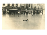 Horse in Flooded Street Prints