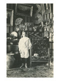 Young Boy Posing with Indian Souvenirs Print