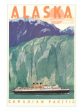 Cruise Liner by Alaskan Glacier Posters