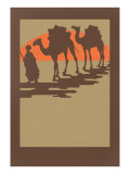 Woodcut of Camels and Nomad Print