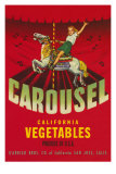 Carousel Vegetable Crate Label Affiches