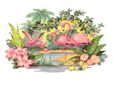 Flamingos in the Tropics Prints