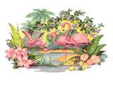 Flamingos in the Tropics Prints
