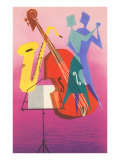 Stylized Bass and Saxophone, Dancers Print
