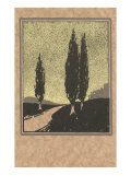 Cypresses Woodcut Posters